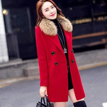 大毛领毛呢外套女中长款加厚冬装韩版修身加厚呢子大衣女红色新娘