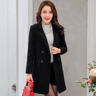 黑色毛呢外套女加厚中长款2016新款韩版修身羊毛呢子大衣女士冬装