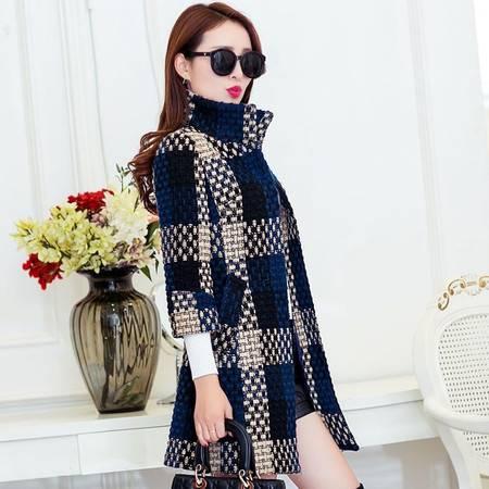 2016冬装韩版加厚格子毛呢外套女七分袖修身中长款立领呢子大衣女