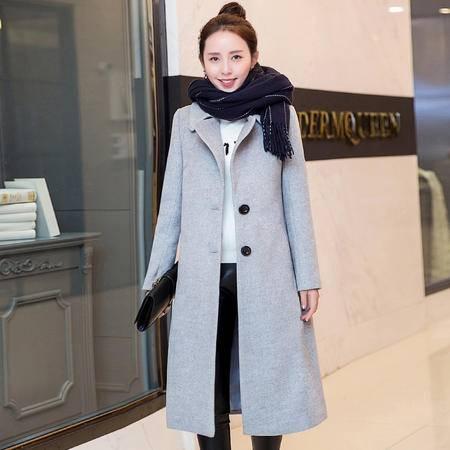 毛呢外套女加长款女装冬装韩版加棉加厚宽松呢子大衣女羊毛呢腰带