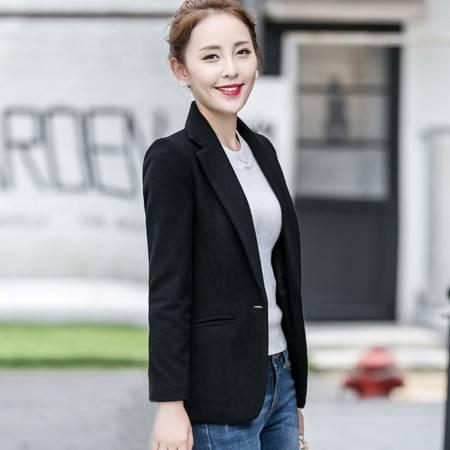 韩丝漫女装2016秋冬装新款韩版修身显瘦毛呢小西装外套休闲短款呢子西服