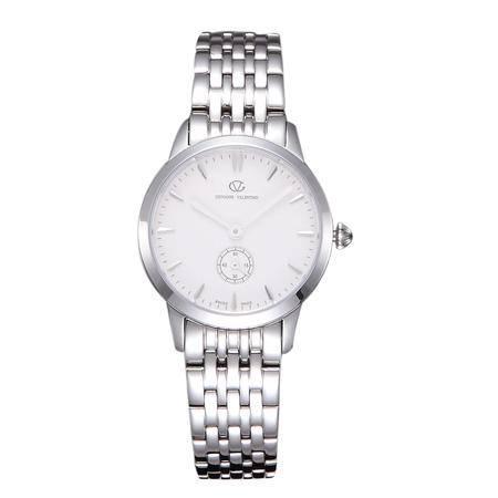 华伦天奴(VALENTINO)女士手表 时尚防水石英钢带女表 银色白盘女士腕表 GV8001TL-A