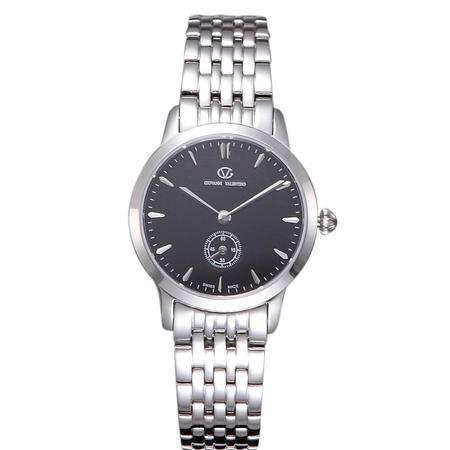 华伦天奴(VALENTINO)女士手表 时尚防水石英钢带女表 银色黑盘女士腕表 GV8001TL-E