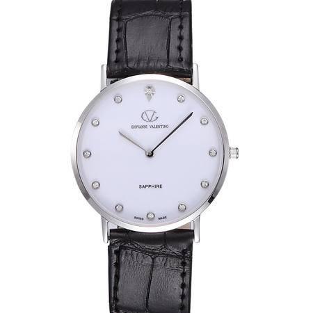 华伦天奴(VALENTINO)商务男士手表 时尚镶钻防水石英皮带银色白盘男士 GV3500M-A