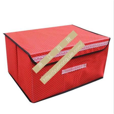 【浙江百货】 45混色无纺布波点储衣盒整理箱收纳盒F3104    LH