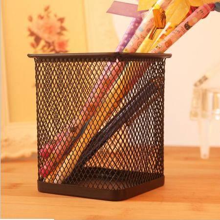 【浙江百货】 方笔筒 金属网状 大容量结实耐用 YZ  B334