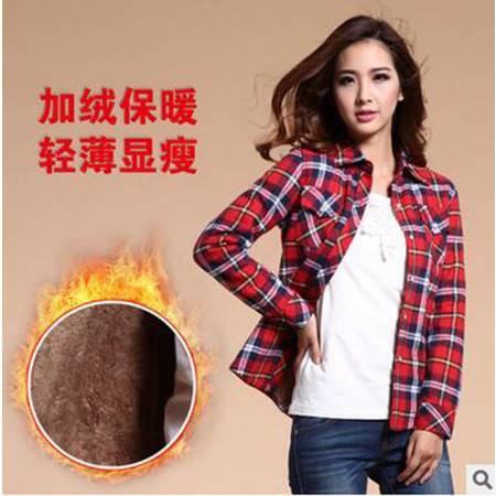 姜依轩女装全棉衬衣职业女士加厚加绒保暖格子衬衫