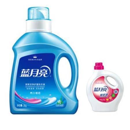蓝月亮洗衣液白增艳3kg+丝毛净500G/瓶超值量贩套装包邮