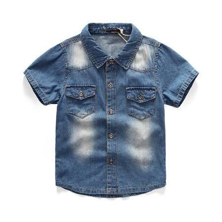 新款夏装 纯棉 儿童牛仔衣 男童短袖牛仔外套 童装牛仔衬衫 包邮