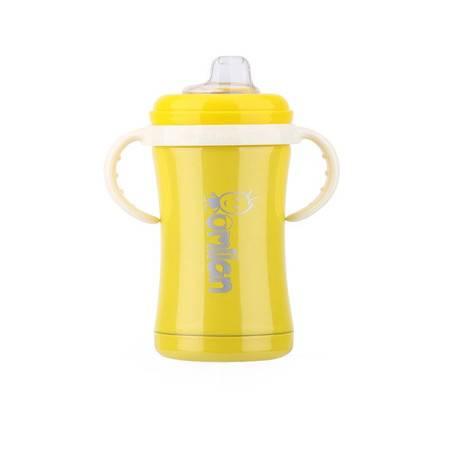 omilan/欧米兰 婴儿奶瓶 保温奶瓶宝宝带手柄吸管防胀气不锈钢奶瓶