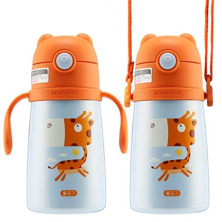 杯具熊 儿童保温杯带吸管手柄背带儿童水杯便携保温壶 XY008-320