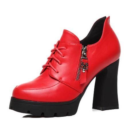 莫蕾蔻蕾/Moolecole 韩版休闲粗跟女鞋 时尚高邦单鞋 5D183