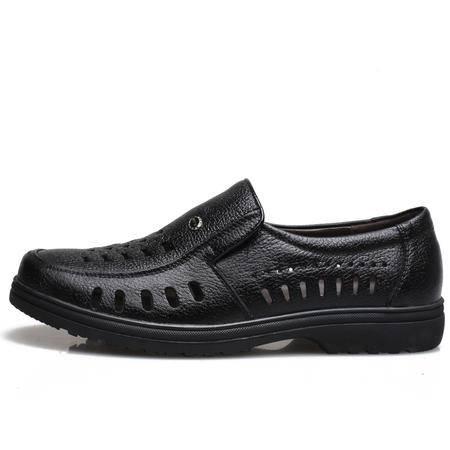 牧惠森 夏季男款凉鞋 洞洞男鞋 英伦复古皮凉鞋镂空男士8101