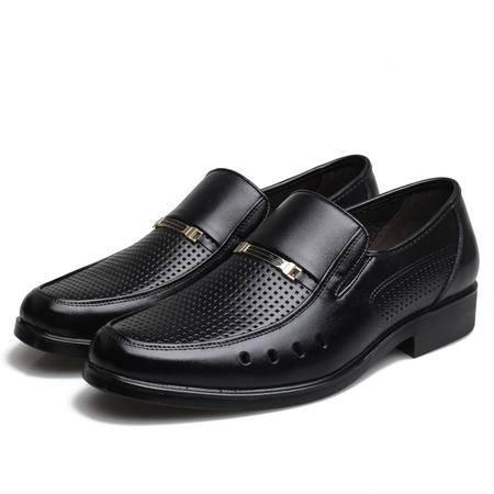 牧惠森 夏季男士凉鞋 镂空男鞋男凉皮鞋透气商务皮凉鞋5605