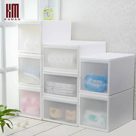 kaman抽屉式收纳柜夹缝塑料整理储物柜衣柜透明收纳箱零食抽屉柜