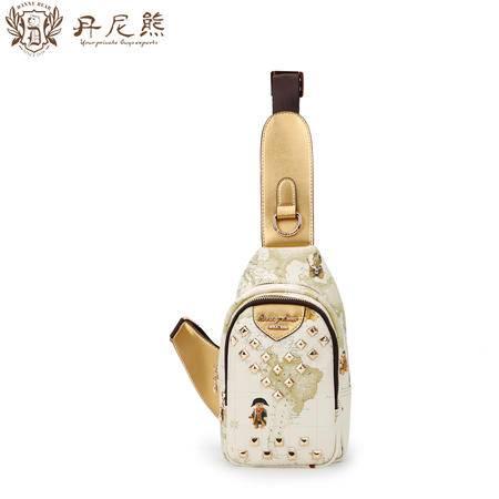 丹尼熊胸包爱旅行香槟色 PVC时尚斜挎包欧美范潮包DBWB155097-023