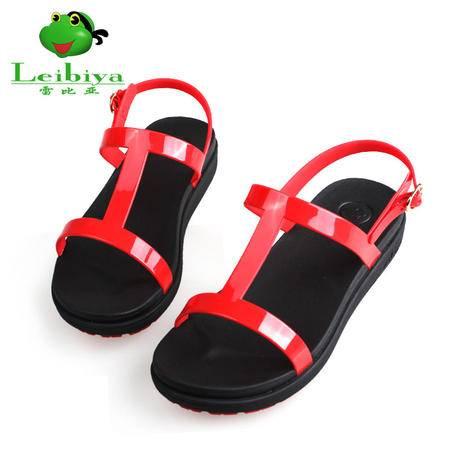 雷比亚新款甜工字鞋果冻鞋女细带凉鞋女鞋夏丁字扣平底平跟软底鞋