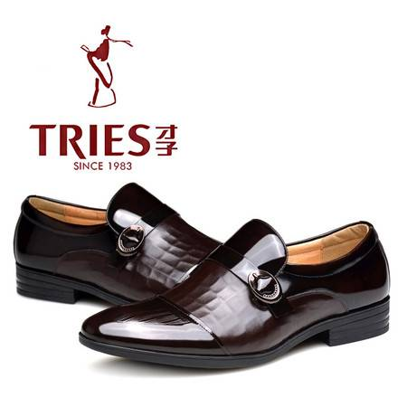 才子男鞋春季新款正装皮鞋真皮男士商务鞋尖头套脚低帮单鞋潮流鞋