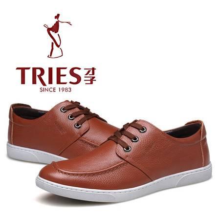 TRiES/才子春秋新款男士休闲皮鞋英伦透气休闲鞋真皮潮流系带男鞋