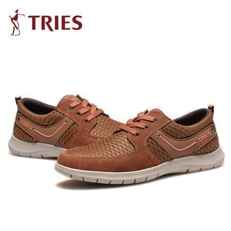才子TRIES 休闲鞋 新款男士日常休闲透气穿孔运动板真皮板鞋男鞋