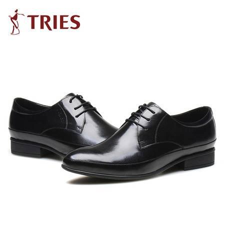 才子新款男士商务休闲皮鞋真皮男系带英伦潮鞋牛皮男鞋子