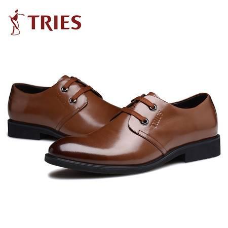 才子男鞋春季正装皮鞋潮流男士商务皮鞋英伦真皮系带婚鞋子男