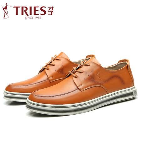 才子男鞋新款男士透气厚底单鞋乐福鞋潮时尚英伦真皮牛皮休闲皮鞋