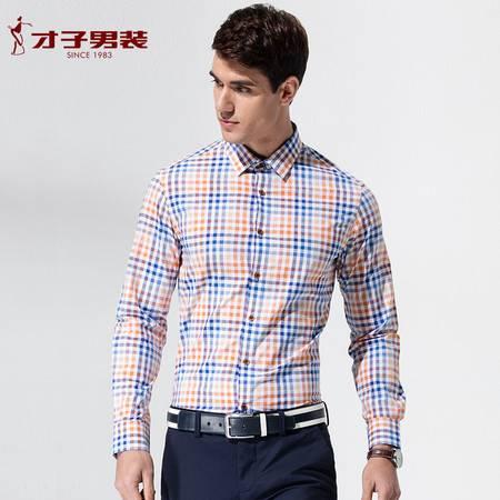 才子男装 2016 春季新品 棉质方领修身时尚流行长袖休闲衬衫