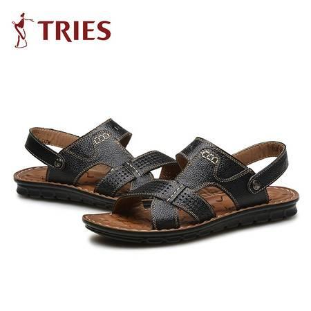 TRiES/才子真皮男凉鞋男士外露趾沙滩鞋户外休闲鞋两用懒人拖鞋