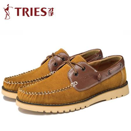 TRiES/才子韩版休闲鞋 春秋季新款反绒皮英伦时尚潮流帆船鞋