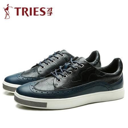 才子 男鞋新款真皮休闲皮鞋英伦时尚低帮板鞋运动板鞋子