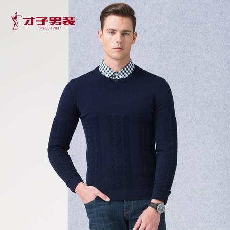 才子 男装2016秋季新品男装圆领休闲长袖针织衫毛衫男