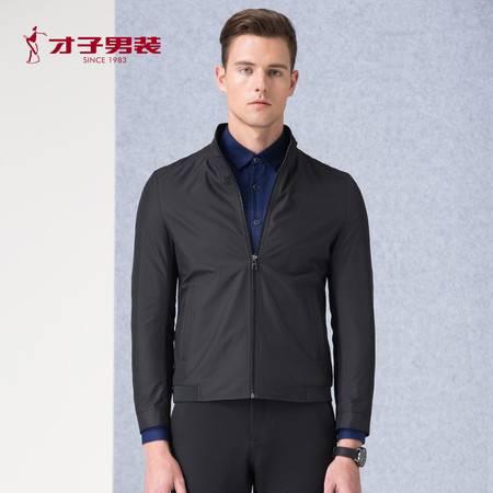 才子 男装2016秋季新品男装时尚立领纯色夹克男外套