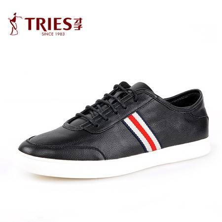 TRiES/才子男鞋新款休闲鞋男真皮英伦青年时尚板鞋软面皮鞋系带潮