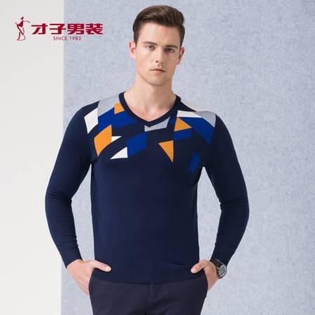 才子 男装2016秋季新品V领拼色套头修身针织衫男士休闲毛衫