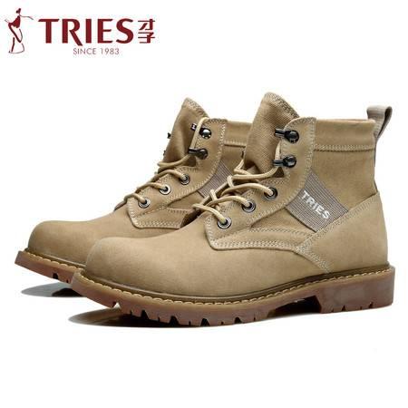TRiES/才子男鞋马丁靴男英伦工装男靴子男士短靴军靴沙漠靴休闲鞋