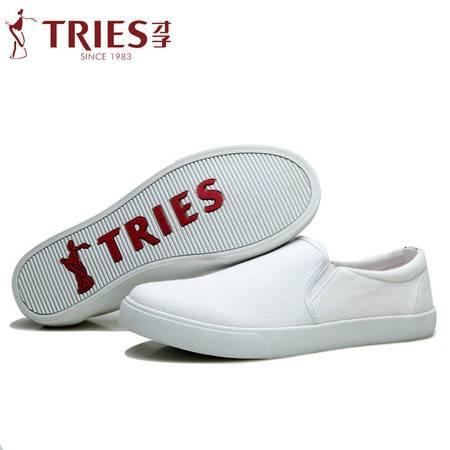 才子男鞋韩版透气帆布鞋休闲一脚蹬板鞋乐福鞋套脚懒人布鞋