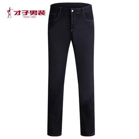 【商店同款】TRiES/才子男装青年秋冬新微弹加厚黑色男士牛仔裤