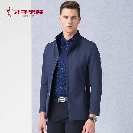 TRiES/才子男装2016立领夹克深蓝色中长款派克修身时尚男士外套