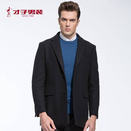 TRiES/才子男装秋冬新款保暖黑色羊毛外套 商务男士修身便西外套