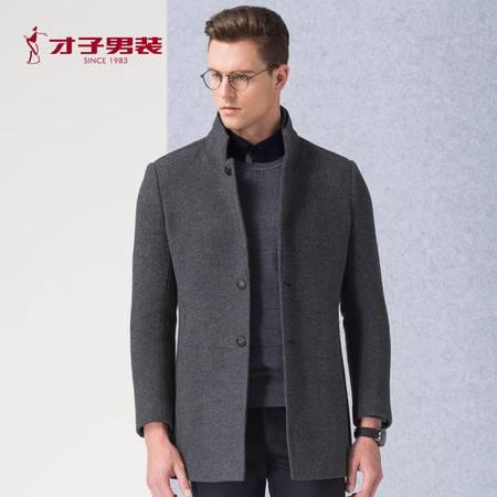 TRiES/才子男装秋冬保暖外套立领修身羊毛呢深蓝灰色男士大衣便西