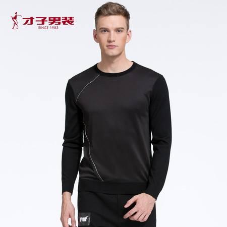 【商场同款】TRiES/才子男装2016秋冬新品黑色修身休闲百搭羊毛衫