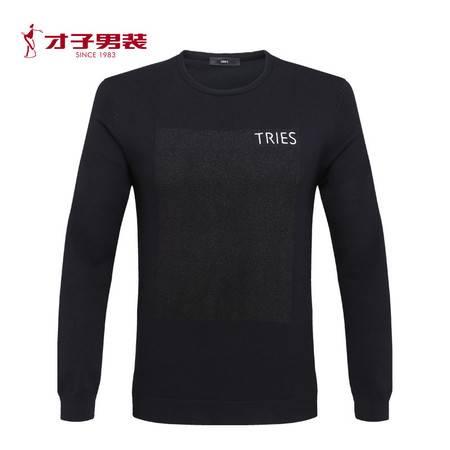 【商场同款】TRiES/才子2016男装秋流行时尚圆领套头修身毛衫