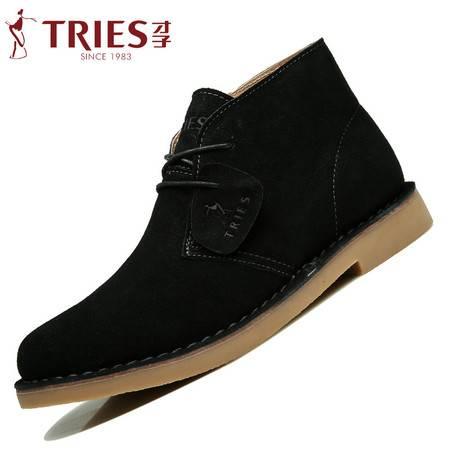 TRiES/才子男鞋秋冬马丁靴男靴休闲短靴子英伦复古皮靴牛皮沙漠靴