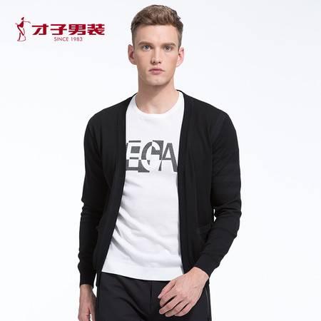 【商场同款】TRiES/才子男装2016秋季新品长袖青年黑色开衫毛衫
