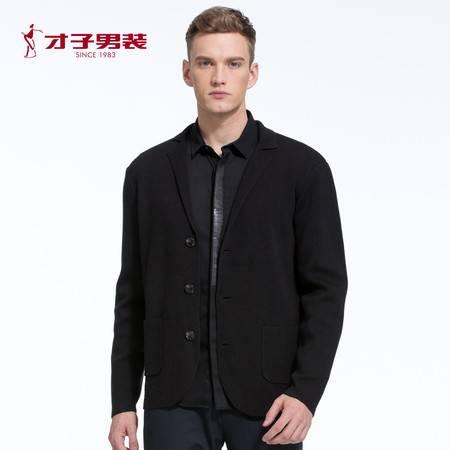 【商场同款】TRiES/才子男装2016秋冬新款开衫羊毛衫黑修身针织