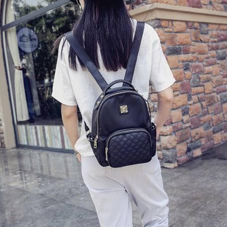 韩版时尚女包双肩包夏季新款尼龙包菱格包双肩背包休闲百搭通勤包