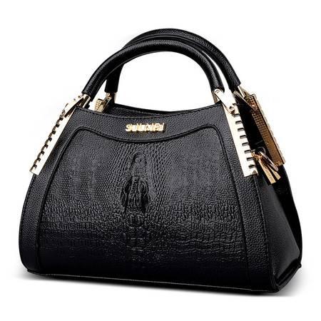 品牌正品女包2016新款欧美时尚女包鳄鱼纹漆皮手提包