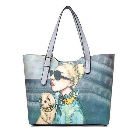 女包包2016秋季新款欧美时尚百搭包涂鸦彩绘子母包三件套