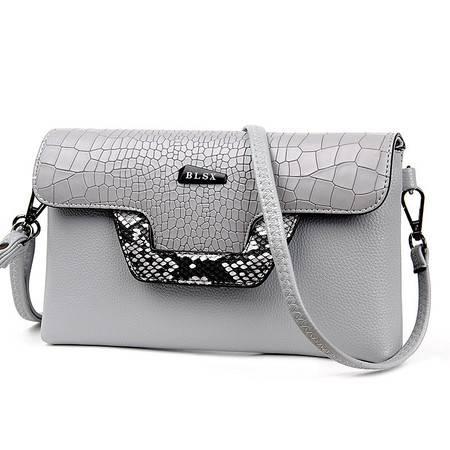 品牌正品包包2016新款欧美时尚女包蛇纹拼接女包